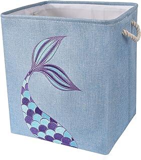 WERNNSAI Boîte de rangement Sirène - 40 × 33 × 45cm Panier de rangement Pliable Garderie Paniers à linge sale Cadeaux Bébé...