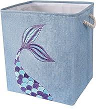 "WERNNSAI Mermaid Storage Bin - 16"" × 13"" × 18"" Linen Fabric Storage Baskets Collapsible Nursery Hampers Laundry Basket Box..."