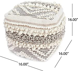 Great Deal Furniture Annabelle Boho Cube Wool and Cotton Pouf, White and Natural