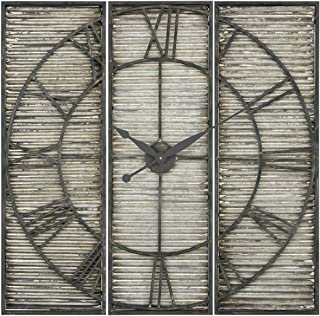 ELK Tammany Square Triptych Wall Clock, Galvanized Steel