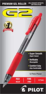 PILOT G2 Premium Refillable & Retractable Rolling Ball Gel Pens, Fine Point, Red Ink, 12 Count (31022)