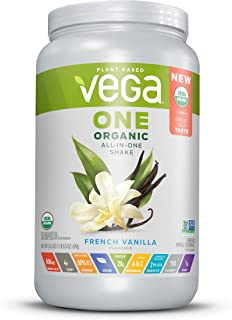 Vega One Organic All-in-One Shake French Vanilla (18 Servings) - Plant Based Vegan Protein Powder, Non Dairy, Gluten Free, Non GMO, 24.3 Ounce (Pack of 1)
