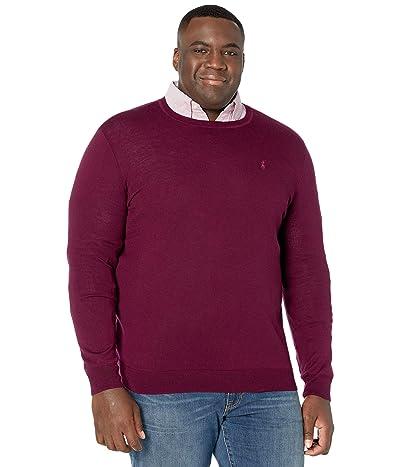Polo Ralph Lauren Big & Tall Big Tall Long Sleeve Merino Wool Crew Neck Sweater (Classic Burgundy) Men