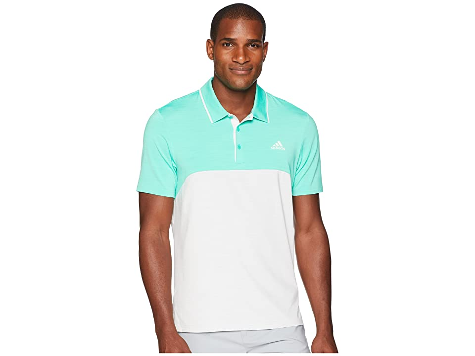 adidas Golf Ultimate Heather Blocked Polo (Hi-Res Green Heather/Grey One Heather) Men