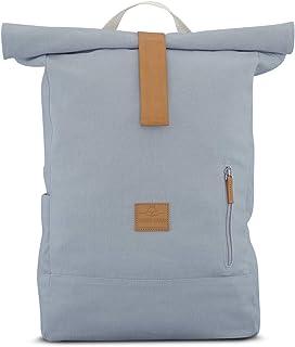 Rolltop Rucksack Damen & Herren Grau - JOHNNY URBAN Roll Top Backpack aus Baumwoll Canvas - Lässige Rucksäcke für Alltag, ...