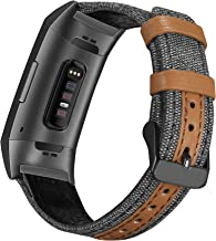 Jobese Compatible with Fitbit Charge 3 Bands, Classic Canvas Fabric with Genuine Leather Bands Compatible with Fitbit Charge 3/ Charge 3 SE Men Women