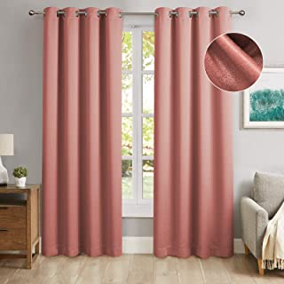 MODERNOVIA Coral 52x96 Inch Blackout Curtain Grommet Solid Glitter Shiny Drape for Living Room and Bedroom 2 Panels