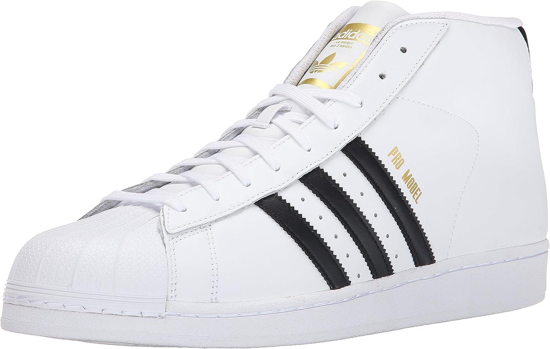 Adidas Originals Men's Pro Model Fashion Sneaker, White Black White, 9 M US