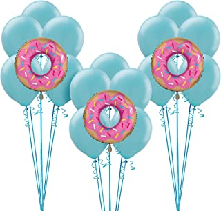 Party City Donut Balloon Supplies, Include 15 Blue Latex Balloons, 3 Giant Donut Foil Balloons, and Curling Ribbon