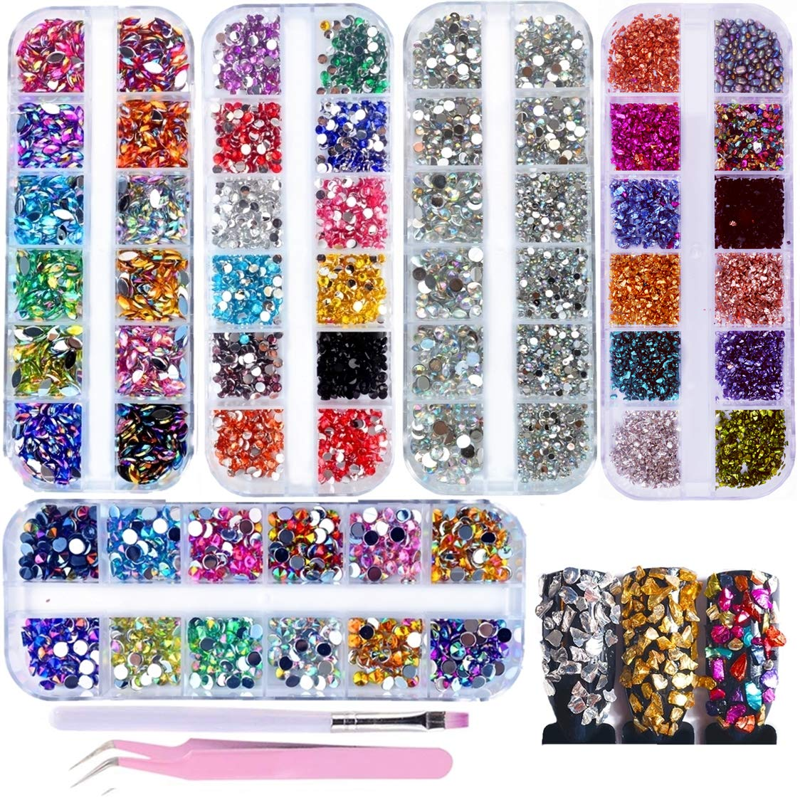 editTime Limited time sale 5000 Pieces 5 Boxes Nail Colorful Art Rhineston Sale Special Price Shiny