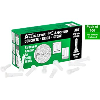 TOGGLER ALLIGATOR AF8 Flanged Anchor, Polypropylene, Made in US, For #8 to #14 Fastener Sizes (Pack of 100)