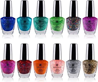 SHANY Nail Polish Set - 12 Twinkling Shades with Gorgeous Semi Glossy and Shimmery Finishes - Glitter Collection