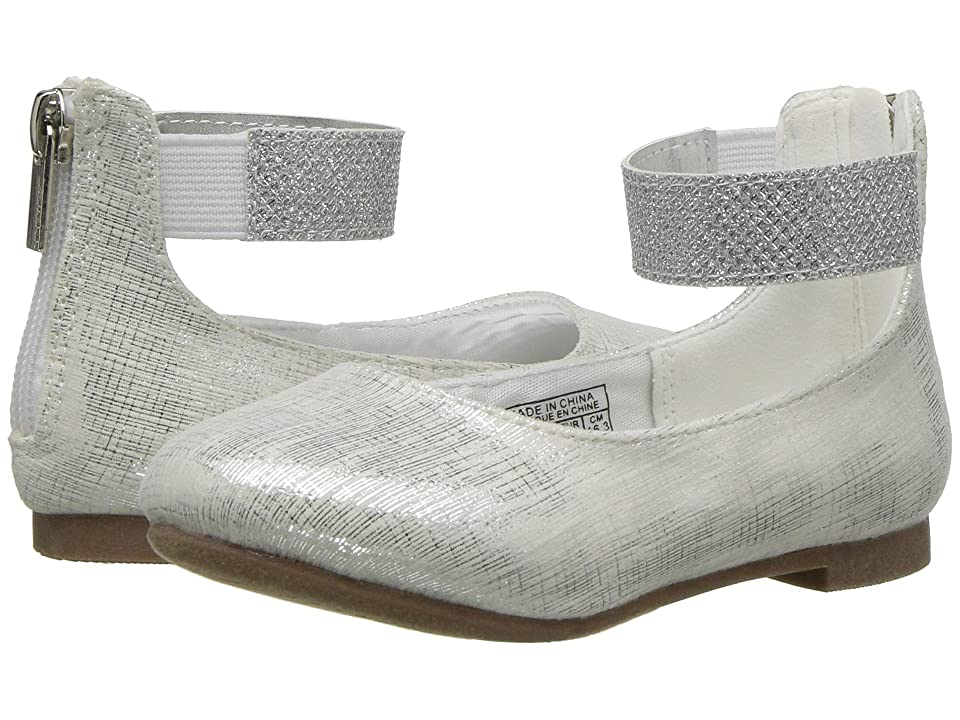 Nine West Kids Faye 2 (Toddler/Little Kid) (White Scratched Metallic) Girl