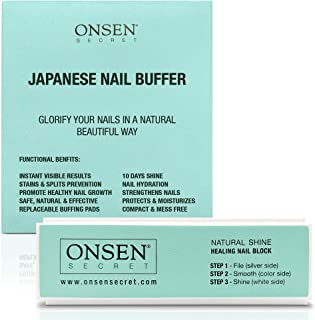 Onsen Professional Nail Files and Buffer, Nail Buffing Block With 3 Way Buffing Methods, File, Smooth & Shine, Compact Purse Size Manicure Tools for Optimum Nail Care, Promotes Natural Shine in Nails