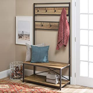 WE Furniture Farmhouse Entry Bench Mudroom Hall Tree Storage Shelf Coat Rack, 72 Inch, Rustic Oak