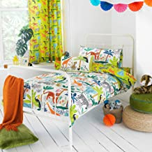 Riva Paoletti Kids Jungletastic Single Duvet Cover Set - Multicolour White - Reversible Jungle Animal Design - 1 x Pillowc...