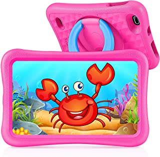 Vankyo Tablette Enfants HD 8 Pouces, 32Go+128Go Stockage, 2Go RAM, Contrôle Parental, Kidoz APP, 3CM Coque Renforcée, 360° Rotatif Support, Android 9.0, GPS, Bluetooth, WiFi, Rose