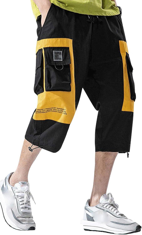 MOKEWEN Men's Two Tone Cargo Max 56% OFF Jogger Tampa Mall Waist Sh Elastic Pants Capri