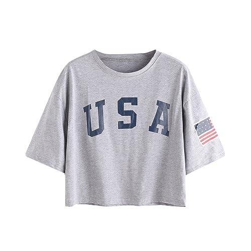 28b008459c3 SweatyRocks Women s Letter Print Crop Tops Summer Short Sleeve T-Shirt