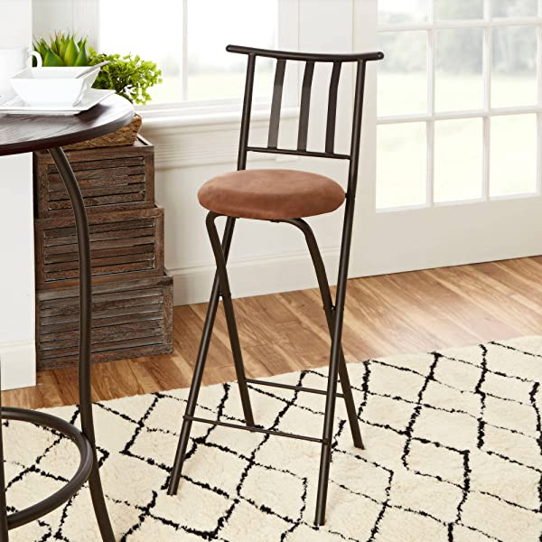 Mainstays Slat Back Folding 30 Bronze Barstool With Dark Bronze Metal Finish And Plush Microfiber Cushion Makes For A Seamless Integration Into A Wide Range Of Decor Beige 1