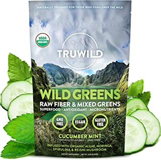 Sponsored Ad - TRUWILD WILD GREENS Certified Organic Green Superfood Adaptogen Powder - 22+ Amazing Organic Foods - Reishi...