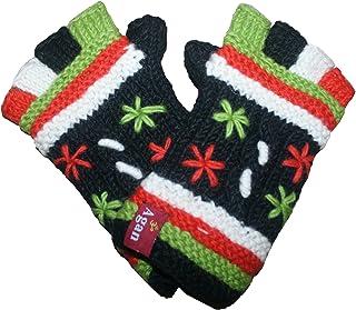 1418 Agan Traders Himalayan Knitted Warm Lamb's Wool Women's Fleece-Lined Hat OR Fingerless Mitten OR Folding Mitten Nepal