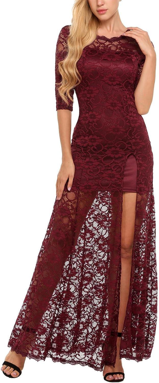 AL'OFA Women's ScoopNeck Floral ThreeQuarterSleeve Long Maxi Dress, Dark Red, Small