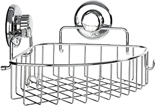 HASKO accessories - Corner Shower Caddy with Suction Cup - Stainless Steel Basket for Bathroom Storage (Chrome)