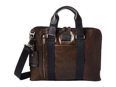 Tumi Alpha Bravo Aviano Leather Slim Brief (Dark Brown Leather) Briefcase Bags
