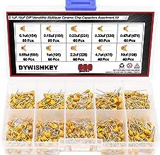 DYWISHKEY 10Value 600PCS DIP Monolithic Multilayer Ceramic Chip Capacitors Assortment Kit, 0.1uF-10uF Ceramic Capacitor Set