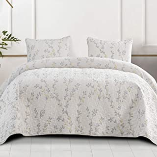 Exclusivo Mezcla Microfiber Queen Size Quilt Set, 3 Piece Lightweight Bedspread/Coverlet/Bedding Set with 2 Pillow Shams, Gradient Floral Pattern, (96
