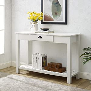 Walker Edison Rustic Wood Farmhouse Entryway Accent Table with Storage Drawer Entry Table Living Room End Table 48 Inch, Brushed White