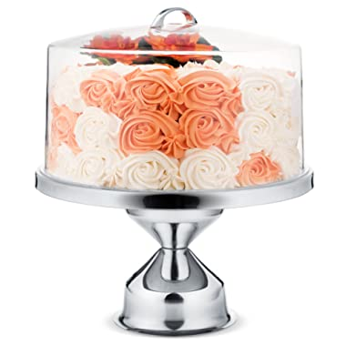 ChefGiant Cake Stand with Cover 13 Round Stainless Steel Base & 7 High Clear Acrylic Lid Cake, Pie, Pastry, Cupcake, Dessert Display Centerpiece Serving Buffet Set