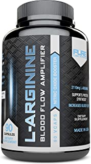 L-Arginine Pure-A 2110mg L Arginine Nitric Oxide Booster, Build Muscle Increase Strength - Best Purest Arginine + Top Rated - Most Effective Dose for Men and Women - Made in USA 90 Capsules