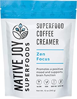 Native Joy Superfoods - Zen Focus Coffee Creamer - L-Theanine, Chaga Mushroom & MCT's | Non Dairy | Vegan | Paleo | Gluten Free | Improve Focus & Reduce Anxiety