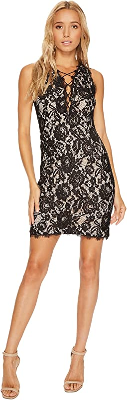 Sleeveless Plunging Lace Cocktail Dress with Strapping