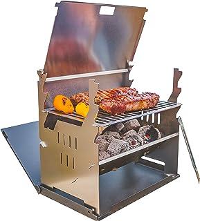 FENNEK Grill und Zubehör | Mobiler und steckbarer Holzkohle-Grill aus Edelstahl für Camping, Trekking, Vanlife, Garten und Outdoor Grill-Spaß