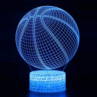 Goodking Basketball 3D Night Light for Kids, Dimmable LED Nightlight Bedside Lamp,7 Colors Changing, Touch & Remote Contro...