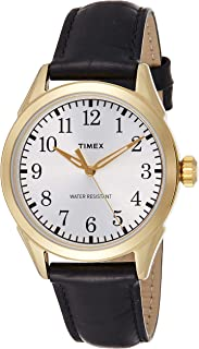 Timex Men's Quartz Watch, Analog Display and Leather Strap TW2P99600