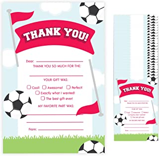 Soccer Fill In Thank You Cards (25 Count) With Envelopes Bulk Birthday Party Kids Children Boy Girl (25ct. Fill Thank You)