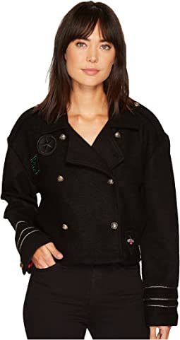 Wool Crop Military Jacket in Riot Control