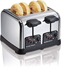 Hamilton Beach Classic Chrome 4 Slice Extra Wide Slot Toaster with Bagel Technology,..