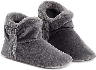 Dunlop Women Bootie Slippers, Ladies Quality Ankle Slippers Memory Foam, Sheepskin Bootie Slippers Indoor Outdoor Shoes, C...