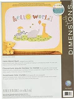 Dimensions Stamped Cross Stitch Kit 'Hello World' Safari Animal DIY Baby Quilt, 43'' x 34''