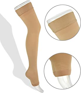 Thigh High Compression Stockings 20-30mmHg with Open Toe for Men and Women from Lemon Hero - FDA Registered - Best Leg Support Hose for Varicose Vein Treatment, Swollen Legs (XXL, Beige)