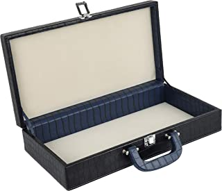 Leather Jewelry Box for Women (Croco Blue and Black, Large)