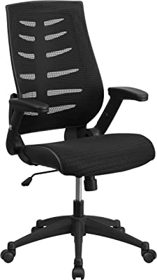 Flash Furniture High Back Designer Black Mesh Executive Swivel Ergonomic Office Chair with Height Adjustable Flip-Up Arms