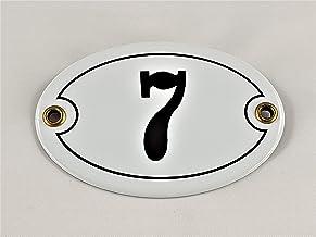 Emaille huisnummer bord nr. 7, ovaal, wit-zwart Nr. 7 / oval/Weiß-Schwarz + Schrauben und Dübel