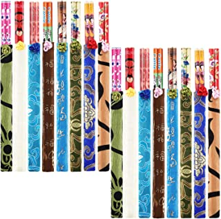 Hotop 20 Pairs Chinese Bamboo Chopsticks with Elegant Silk Brocade Pouch Multicolored for Chinese New Year and Valentine's Day