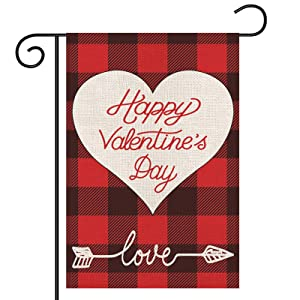 Valentines Garden Flag, Buffalo Plaid Love Heart Arrow Yard Flag, Double Sided Burlap Flag, Valentines Day Garden Banner for Outdoor/ Yard/ Farmhouse/ Home/ Wedding/ Anniversary Decor, 12.5x18 Inch